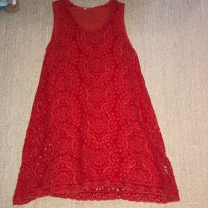 Johnny Was red eyelet shift dress
